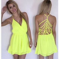 2014 New Design Neon Dress Hollow Out Backless Beach Dresses Women Fashion V Neck Chiffon Sexy Shorts Dress