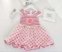 Free shipping new summer child dresses summer dress girl fresh flowers red and blue yarn dress