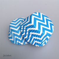 wholesale-free shipping 100 pcs/lot Blue Chevron GREASEPROOF PAPER CASE CUPCAKE LINERS CASES Chevron design