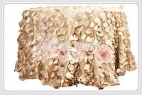 free shipping new desgin champange taffeta coin round table cloth for weddings decoration