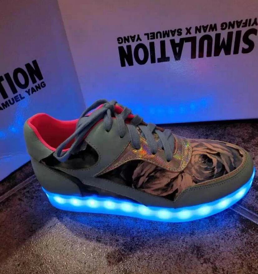 2014 new Yifang Wan X Samuel Yang Simulation women sneakers men flats led Lighted Luminous Hip hop shoes sneakers boot shine USB(China (Mainland))