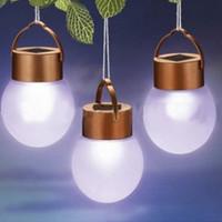 New 1LED Sphere Solar Lantern Night Light Hanging Lamp Outdoor Camping Light Waterproof Free Shipping