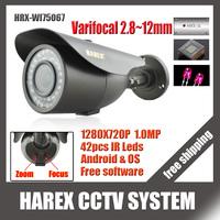 1280*720P 1.0MP with 2MP  2.8~12mm Varifocal zoom lens IP Camera 42 IR leds ONVIF Waterproof IR CUT Plug and Play, free shipping