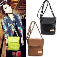 Candy Color Drawstring Style Lady Fashion Messenger bag Leather Cross Body Vintage Shoulder Bag Black/Green/Orange/Brown