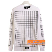 Autumn New! Hiphop Rock style ktz HBA Hood By Air Grid Checkerboard Print Lovers Extend Long T-shirts Black White DYX046