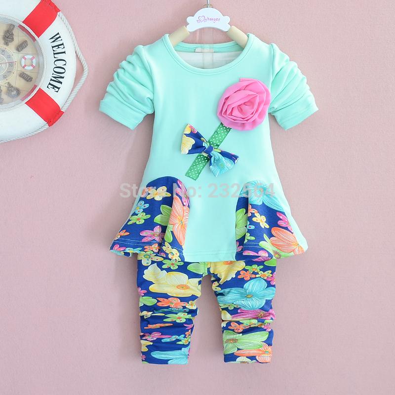Girls 2 PCS set 2014 Spring Autumn Chiffon Rose Floral pants sets long sleeved coat pants