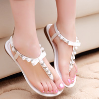 Factory direct a new generation of fat summer 2014 diamond simple flat thong sandals breathable shoes wholesale