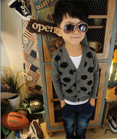 2014 New Arrival Casual Boy Kid Outwear Knit Cardigan Boy Coat Jacket Sweater 2 Color Trendy Long Sleeve Free Shipping