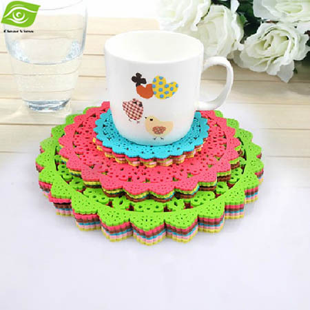 3Pcs/set Coasters S+M+L Soft Skidproof Placemat Waterproof And Insulation Cup Mat Cute Tablemat Gifts Wholesale Kitchen Tools(China (Mainland))
