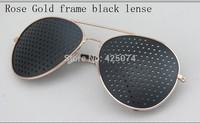 Free Shipping 1 pcs  Pinhole Glasses Eyeglasses Eyewear Vision Eyesight Improve Care Exercise -Rose gold