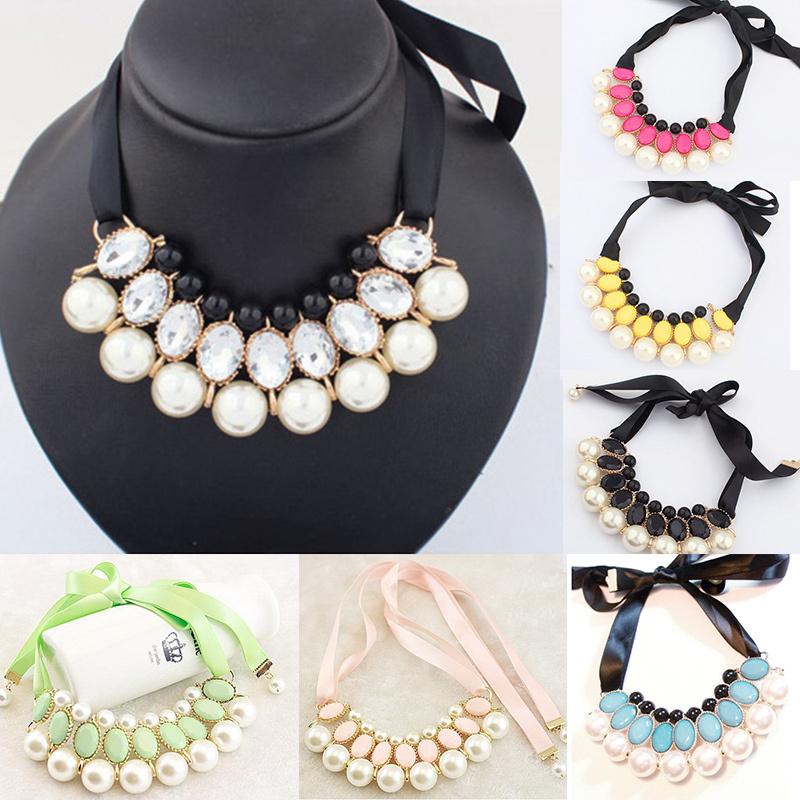 New Fashion Women Pearl Necklace Ribbon Gem Necklace Tier Choker Bib Collar Pendant Necklace PMHM181(China (Mainland))