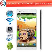 Original cubot s222 mtk6582 quad core 5.5 inch HD OGS Screen android 4.2 smartphone 1GB+16GB+ GPS+ BT+WCDMA 13.0MP Camera