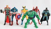 The Avengers Captain America Spiderman Thor Batman Hulk Wolverine Action Figures Toy PVC Figure 15cm 6pcs=1set by DHL 180pcs/lot
