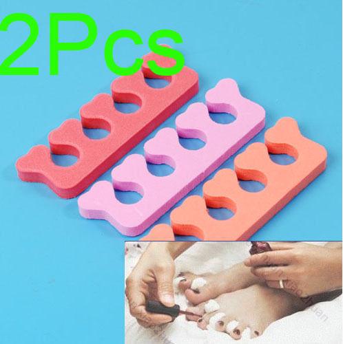 Free Shipping 2 Pcs Nail Art Soft Finger Toe Separator For Pedicure(China (Mainland))