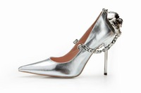 Fashion women silver gold shinning elegant lady back chain pumps female high heels formal animal decoration party shoes WS0921