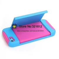 Hybrid Layer Credit ID Card Stand Case For Iphone 4 4G 4S /5 5G 5S /5C Hard PC + Soft Silicone Back Skin Cases 50PCS
