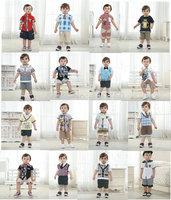 2014 new Gentleman boy children clothing set baby clothes tie plaid bow tie short-sleeve T-shirt  shortstop pant 2 pcs kids suit