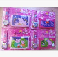 4sets/lots 2014 NEW hotsale  Peppa Pig Digital watch wallet for kids baby toys can mix
