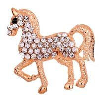 Animal Horse Shape Inlay Rhinestone Black Eye Gold Plated  Brooch Pin Free Shipping