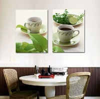 2 Panel modern wall art home decoration frameless oil painting canvas prints pictures P505 coffee cup green life paintings