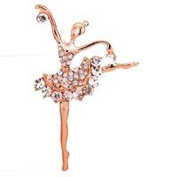Free Shipping Dancing Girl  rhinestone crystal brooch  Inlay  Silver Plated  Brooch Pins