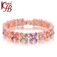 Accessories four leaf clover florid 's top multicolour zircon bracelet luxury bracelet female time rose gold