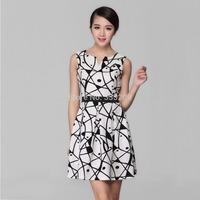 Brand New Ciros Women Casual Clothing Bud Mini Chiffon Vest Empire lips Print Dresses  High Quality New Fashion 2014