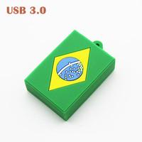 Free Shipping Real 8GB 16GB 32GB 64GB USB 3.0 Flash Drive With World Cup Brazil Flag Shape Memory Drive Pen Drive U Disk Cheaper
