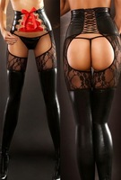 2014 sale stockings tights women meia calca new women sexy shiny faux leather wetlook lace up ttight open hip pantyhouse 9004