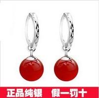 S925 pure silver ear buckle red agate green agate earrings Women silver jewelry10mm