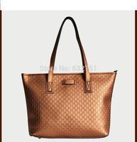 100% Genuine Leather Handbag Fashion Plaid Cowhide Shoulder Bag Cabas Big Bags Tote Shopping Bag
