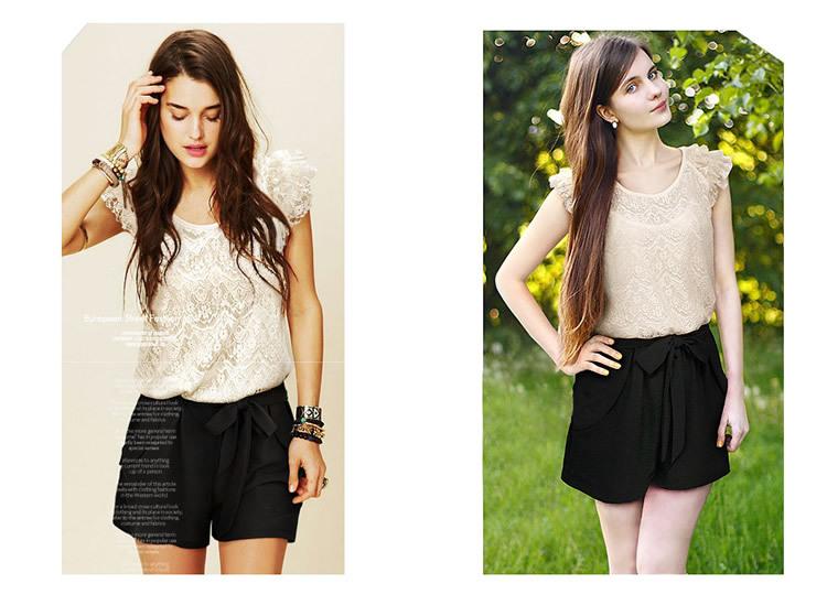 Женщин кружева комбинезоны шорты черный белый