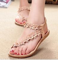 retail Flip-flop sandals flip women's shoes flat flats bohemia flower beaded soft outsole sweet size 35-39