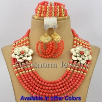 2014 Fashion African Wedding Coral Beads Jewelry Set Perfect Brides Gift Wedding Jewelry Set Pink New Free Shipping CNR187