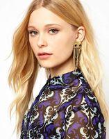 2014 New Fashion hot Selling personality tassel owl punk rock Crystal dangle earrings,high quallity earring Jewelry for women