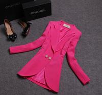Autumn Winter Women Tops Outerwear Vintage Elegant Office Lady Candy Color Slim Coat Jacket Sapphire Blazer Branco Feminino 2014