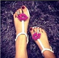 2014 new Sexy personality rhinestone lipstick pinch flat sandals women's shoes woman's flat sandals Beach shoes