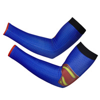 2014 New cool Superman style Bike sunscreen Cycling armwarmers bicycle arm sleeves breathable riding outfit