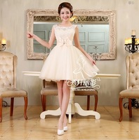 2014 Princess Style short design champagne bandage satin inside special occasion dress for prom wedding and graduation party