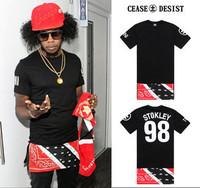 2014 new men's brand cool hip hop streetwear extended patchwork t shirt fashion tee top hba pyrex shirt