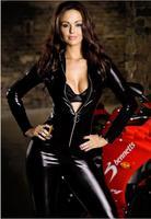 2014 free Shipping Hot! Wome's Sexy Lingerie Set Leather Slim Jumpsuit Cars T Ruslana Korshunova Club Dance Clothing Uniforms
