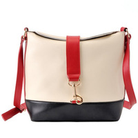 2014 Vintage Korea Style Retro Contrast Color Patchwork Leather Bag Women Cross-body Shoulder Student Pothook Bag