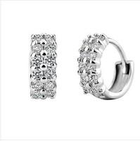 Sparkling Double AAA zircon earrings 925 pure silver earrings South Korean style earrings