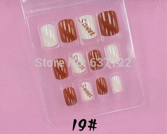 12set/lot false finger nails women bride wedding art decal color Wholesale Freeshipping decal 7.16.2(China (Mainland))