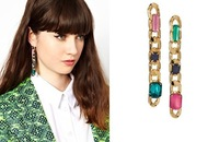 Fashion Delicate chain colored  Crystal  dangle long vintage earrings,high quallity wedding earring Jewelry for  women