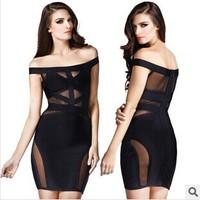 New Sexy & Club Bandage Dress Women 2014 Women Clothing Hollow Out Mesh Perspective Slash Neck Dress Midriff bandage dress black