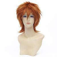 Qiyun 30cm Orange Straight Unisex Short Synthetic Full Cosplay Costume Anime Wig Peluca Perucke Perruque