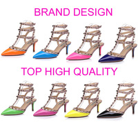 Brand Design one by one Women pumps 100% Authentic leather European and American fashion 3 Ankle Strap Rivets pumps party shoes.