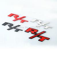 Metal Black Red Chrome R/T Car Emblem Badge