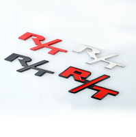Metal Black Red Chrome R/T Car Emblem Badge